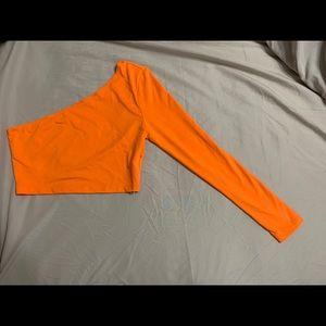 Neon Orange One Shoulder Crop Tee